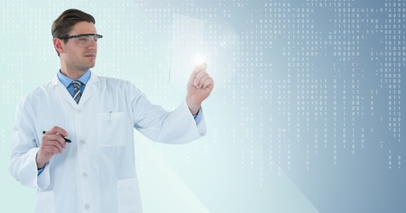 bina: Digital composite of Man in lab coat and goggles with pen holding up glass device against blue background with white bina