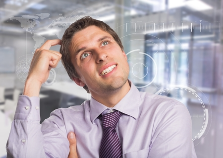 flooring: Digital composite of Man in lavendar shirt scratching head against white interface and blurry room Stock Photo