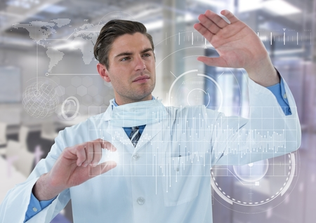 Digital composite of Man in lab coat behind white graph and flare against white interface and blurry lab
