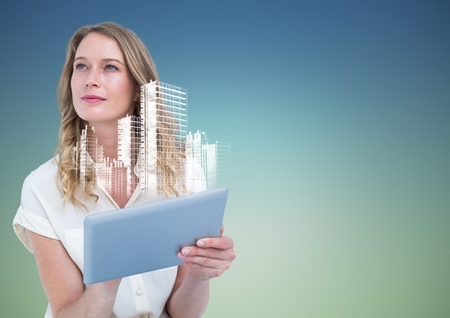 Digital composite of Woman with tablet and white building graphic against blue green background