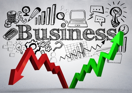 Digital composite of Red and green arrows with black business doodles against white wall Stock Photo