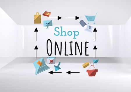 Digital composite of Shop Online text with drawings graphics