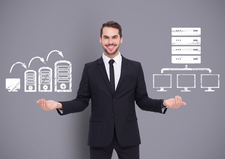 well dressed: Digital composite of Man choosing or deciding with open palms hands computers servers icons Stock Photo