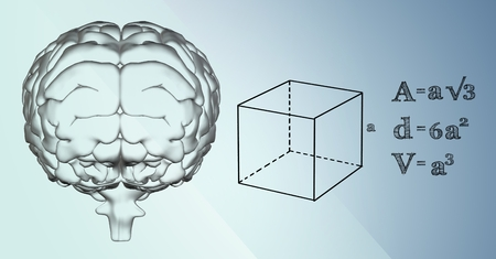 Digital composite of Transparent brain and black math graphics against blue background Stock Photo