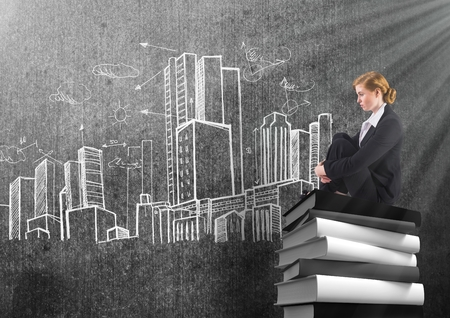 well dressed woman: Digital composite of Businesswoman sitting on 3D Books stacked by city buildings drawings