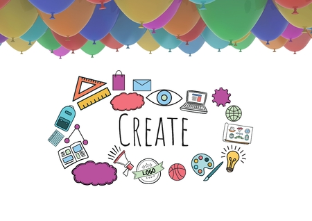 Digital composite of Create text with drawings graphics and balloons Stock Photo