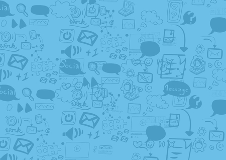 Digital composite of Blue background with icons drawings graphics