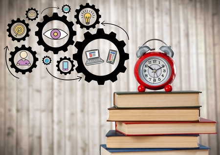Digital composite of Pile of books and clock with gear graphics against blurry wood panel