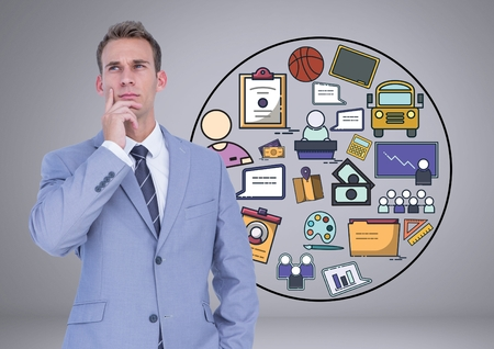 concentrate: Digital composite of Businessman thinking with creative business graphic drawings