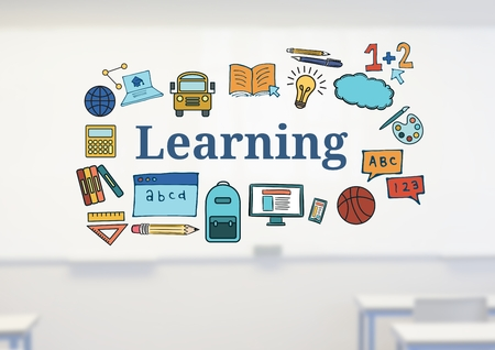Digital composite of Learning text with drawings graphics