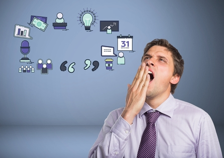Digital composite of Businessman yawning tired with business graphics drawings