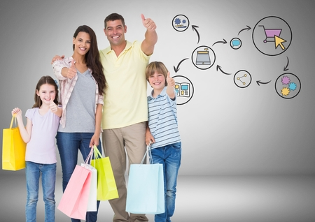 spending: Digital composite of Family with shopping bags and online shopping graphic drawings Stock Photo