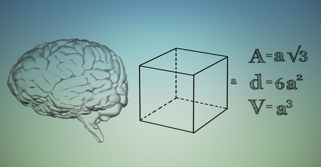 Digital composite of Transparent brain and black math graphics against blue green background