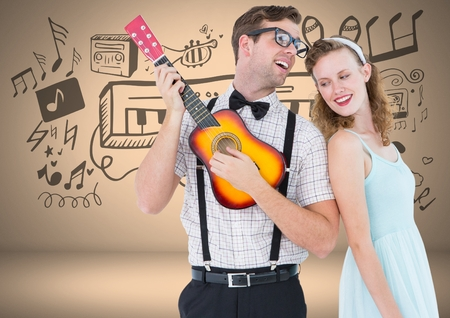 Digital composite of Coupe with guitar and music graphic drawings