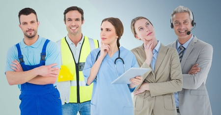 call out: Digital composite of Business woman and call center man, doctor, handy man and builder against blue background