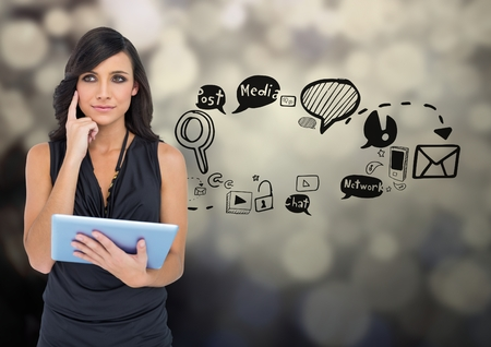 Digital composite of Businesswoman with social media graphic drawings