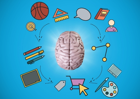 Digital composite of Pink brain with education graphics against blue background
