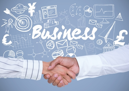 extending: Digital composite of Business handshake with Business graphics drawings Stock Photo