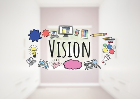 Digital composite of Vision text with drawings graphics
