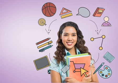Digital composite of Student with education graphic drawings Stock Photo