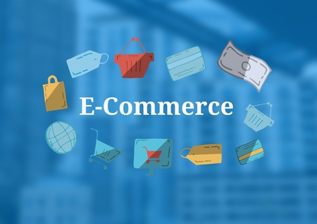 Digital composite of E-Commerce text with drawings graphics