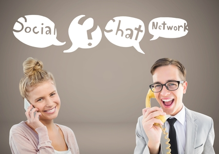 Digital composite of Two people chatting on phones with social network icon chat bubbles