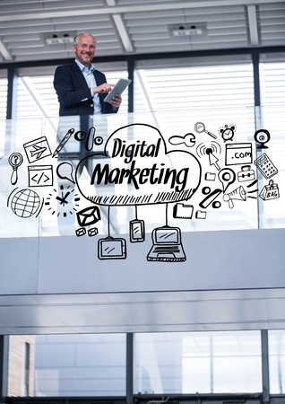 well dressed: Digital composite of Business man on balcony with black business doodles Stock Photo
