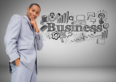 multiracial: Digital composite of Businessman with business graphics drawings
