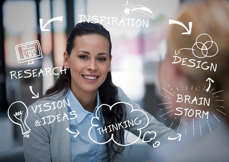 Digital composite of Business woman behind blurry business woman with white business doodles