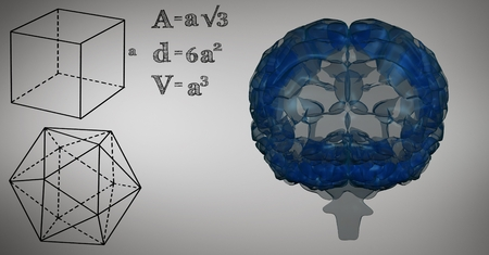 Digital composite of Blue brain and black math graphics against grey background