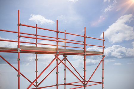 spirit level: 3d image of red metal structure with shadow against blue sky