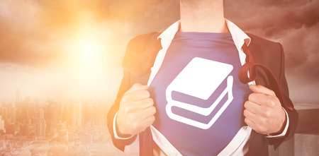 Composite image of businessman opening his shirt superhero style in city Stock Photo