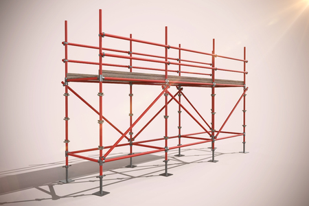spirit level: 3d image of red metal structure with shadow against neutral background