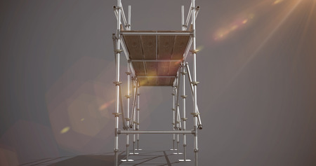 3d illustrative image of gray metal structure against dark grey background
