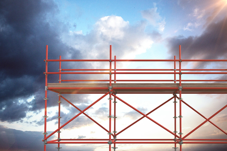 3d image of red metal structure with plank against cloudy sky Stock Photo