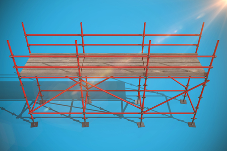 3d illustrative image of red metal structure against blue background