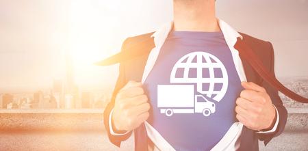 Graphic image of businessman opening shirt superhero style overlooking city Imagens - 75655403