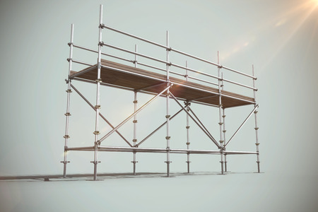 Digitally generated image of scaffoldings against grey background
