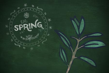 Spring logo against background  against green background