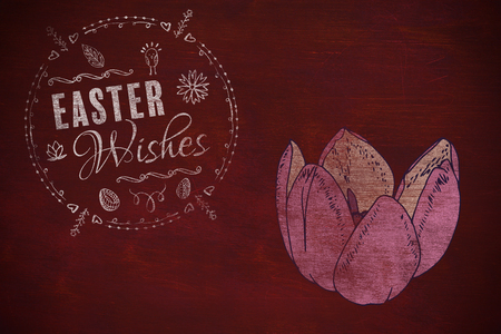 Easter Wishes logo against black background against brown blackground