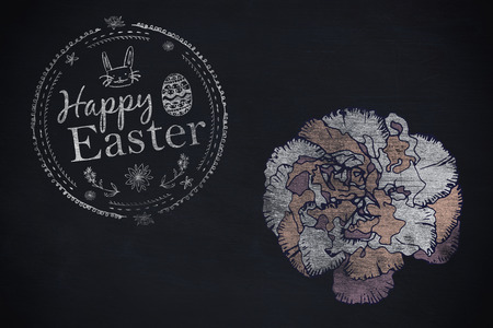 Happy Easter white logo against a black background against black background