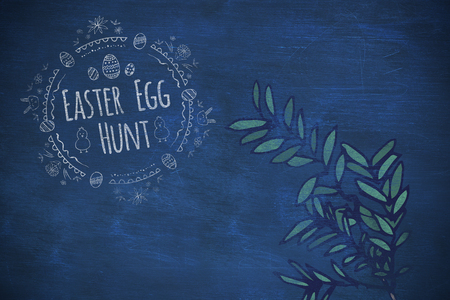 plant stand: Easter Egg Hunt logo against a black background against blue background Stock Photo