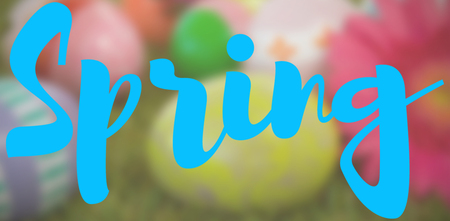 Easter greeting against painted easter eggs with flower on grass Standard-Bild