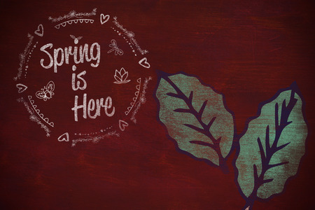 Spring is Here logo against background  against brown blackground Stock Photo