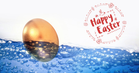 bubbling: Happy Easter red logo against a white background against golden easter egg on white background