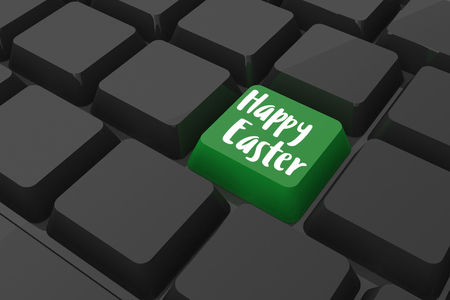 Happy easter logo against black keyboard with green key Stock Photo