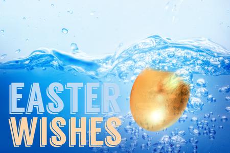 Easter greeting against golden eastern egg on white background