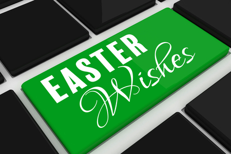 crossed arms: Easter greeting against black keyboard with green key