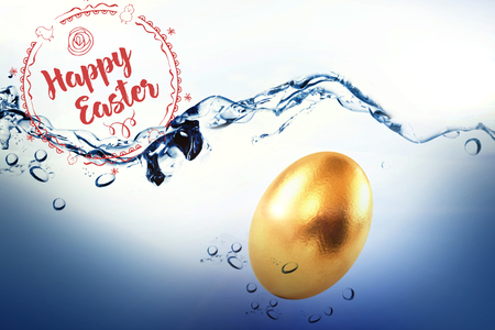 Happy Easter red logo against a white background against golden easter egg on white background