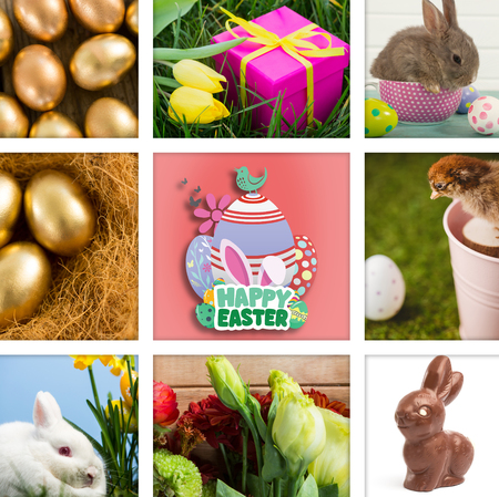 happy easter graphic against close-up of golden easter eggs